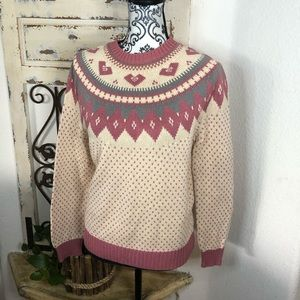 Lands end pink and cream argyle sweater
